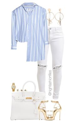 """""""Untitled #2762"""" by highfashionfiles on Polyvore featuring FiveUnits, Vetements, Jennifer Fisher, Hermès, Dsquared2, Rolex and Topshop"""