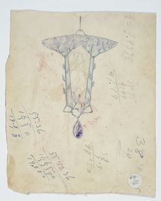 Gustav Gaudernack. Watercolor sketch for pendant in silver,  plique-a-jour enamel, amethyst and enamel painting in typical art noveau style. Inspired by Lalique during visit to Paris in 1906-1907