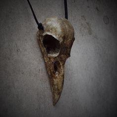 Raven Skull Cast Bone Resin Replica Necklace Bird Skull Crow Gothic Taxidermy | eBay
