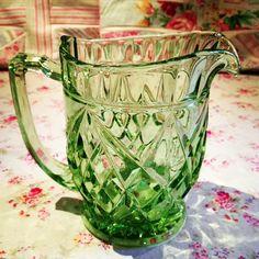 1930s  Vintage pressed Glass green glass water, Pimms or Lemonade jug
