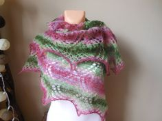 Lace shawl, triangular shawl, mohair yarn, watermelon colors, pink and green , hand knitted by MyKnitCroch on Etsy
