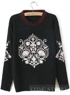 US$31.99 Best Quality New Arrival Retro Embroidery  Sweater . #Sweaters #Arrival #Best #Embroidery