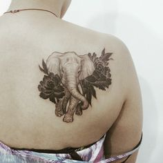 Gorgeous elephant with flowers tattoo on the back for women Best Tattoos For Women, Back Tattoo Women, Trendy Tattoos, Small Tattoos, Cool Tattoos, Calf Tattoos For Women Back Of, Animal Tattoos For Women, Colorful Tattoos, Tattoo Life