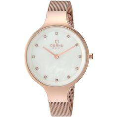 Obaku Women's Quartz Stainless Steel Dress Watch, Color:Rose... (£135) ❤ liked on Polyvore featuring jewelry, watches, swarovski crystal watches, water resistant watches, rose gold tone jewelry, swarovski crystal jewelry and analog wrist watch
