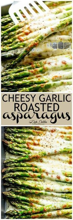Cheesy Garlic Roasted Asparagus with mozzarella cheese is the best side dish to any meal! Low Carb, Keto AND the perfect way to get your veggies in! Even non-asparagus fans LOVE this recipe! Tastes so amazing that the whole family gets behind this one | cafedelites.com #asparagus #mozzarella #garlic #sides #lowcarb #keto