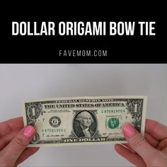 Make this easy origami idea with a dollar bill. Quick and simple folding activity. Full video tutorial on website, scroll down for it. And check it out on You Tube # dollar bill origami Money Origami Bow Tie Origami Simple, Origami Bow, Paper Crafts Origami, Origami Folding, Money Origami Tutorial, Origami Using Money, Oragami Money, Origami Money Flowers, Fold Dollar Bill