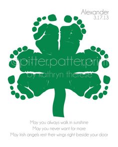 A way to make a Shamrock (four leaf clover) out of footprints! I have three kids, so this might be just perfect! :)