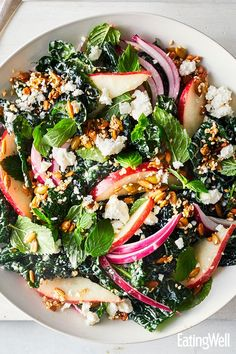 30 minutes · Vegetarian Gluten free · The crunchy seed topping is the perfect textural juxtaposition to a creamy dressing, soft pears and tender massaged kale salad. Tossing it all with mint, feta and red onion gives it a Middle Eastern… Healthy Recipes, Healthy Salads, Vegetarian Recipes, Healthy Eating, Cooking Recipes, Kale Salads, Massaged Kale Salad, Pear Salad, Onion Salad