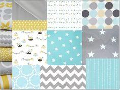 Tissus pour créations tour de lit et gigoteuse turquoise/gris/jaune