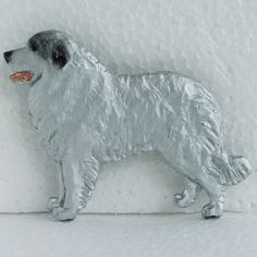 Pyrenean Mountain Dog Brooch Dog Breed Jewellery Handcrafted Handpainted Resin