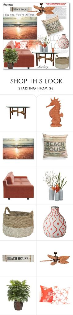 """""""Sunset Beach House"""" by lindsayd78 ❤ liked on Polyvore featuring interior, interiors, interior design, home, home decor, interior decorating, Vince, Fitz & Floyd, Primitives By Kathy and Vaxcel Lighting"""
