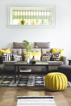Just a splash of yellow, white walls