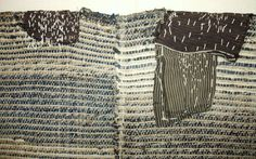 Japanese Antique Textile Cloth of Sakiori Sodenashi  This is a sakiori sodenashi ( sleeveless ) which is hand-woven of cotton strips which are torn from old cloth, such as kimono, furoshiki, futon cover and so on. Warps are also cotton threads. It has beautiful mixed color of natural indigo and others. It has wear and mending patches and both sides are open. Late 19th to early 20th century.