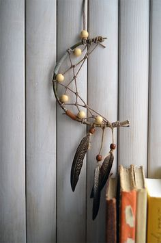 Ethnic Moon Dreamcatcher, Native American Home Decor, Wall Hanging, Gift, Wall Decor, Room Decor, Real Feathers