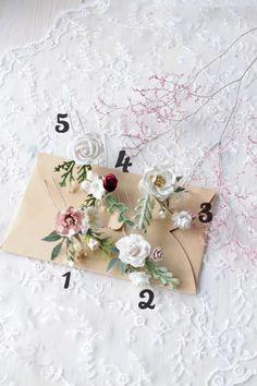 White hair pins Wedding flower hairpiece Bridesmaid hair | Etsy