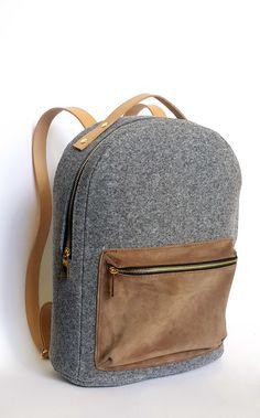 LEATHER 13.3 MACBOOK BACKPACK felt laptop bag