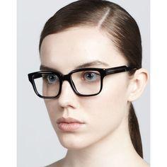 Stella McCartney Rounded-Square Fashion Glasses, Black ($245) ❤ liked on Polyvore
