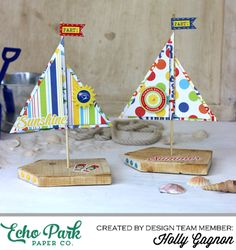 """Sailboat Table Decor created by Holly Gagnon with the """"Beach Party"""" collection by #echoparkpaper"""