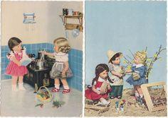 2 x AK KÄTHE KRUSE Puppe 1958 Puppen in der Küche und im Garten