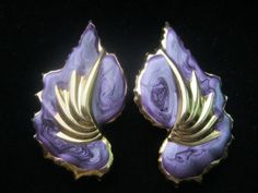 Vintage 1980s Purple Enamel Gold Swirl Flower by NfrKaVintage