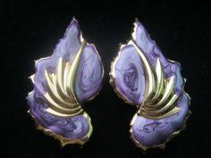 Vintage 1980s Purple Enamel Gold Swirl Flower by NfrKaVintage