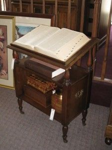 Antique dictionary and stand.think of it as old school spell check. Book Stands, Reading Room, Downton Abbey, Libraries, Nifty, Home Projects, Home Accessories, Household, Rooms