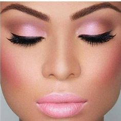 Gorgeous Pink Eyeshadow with matching light Pink lipstick .