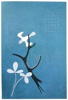 1935東郷青児三つ葉と鳥、木(染織)