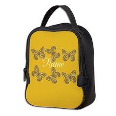 Cute Chic Butterfly Neoprene Lunch Bag #personalized #butterflies