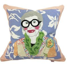 Iris Apfel Pillow From famous first ladies to media models to style mavens, Huger brings your favorite heroines home. Available on the website and @Steve McKenzies in Atlanta. Get yours before they are gone!!