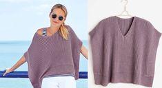 Un décolleté profond et des côtés ouverts, ce modèle original tricoté en côtes anglaises est délicieusement frais. Les bord-côtes sont assemblés dans le bas du poncho. Tailles : 36 à 40 ...