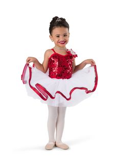 """Red sequin mesh over red spandex leotard with keyhole back detail and adjustable straps. Separate white tricot tutu AND sequin fringe with boa back skirt. Rosette, glitter ribbon, and sequin trim. Boa headpiece included.   ACCESSORIES: 8131 Large """"Diamond"""" Tiara; #dancecostumes #firstrecital #costumegallery #dancecompetition #ballerina #babyballerina #tutu #tots Cute Dance Costumes, Baby Ballerina, Diamond Tiara, Glitter Ribbon, Dance Recital, Fringe Skirt, Tiny Dancer, Rosettes, Leotards"""