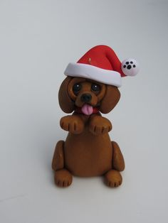 Dachshund Dog Christmas Ornament Polymer Clay Figurine