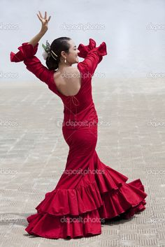 Spain+Clothing | Traditional Woman Spanish Flamenco Dancer In Red Dress | Stock Photo ...