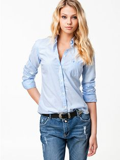 Classic Oxford Shirt - Morris - Light Blue - Blouses & Shirts - Clothing - Women - Nelly.com Uk