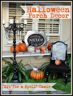 The V Spot: Halloween porch decor and a Mod Podge Chair.