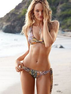 A boho bikini? SO right for the beach. | Victoria's Secret Fringe Macramé Bralette