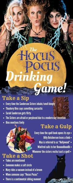 I'll Take Thee Away, Into a Land of the Hocus Pocus Drinking.- I'll Take Thee Away, Into a Land of the Hocus Pocus Drinking Game Hocus Pocus Drinking Game! Halloween Tags, Halloween 2017, Holidays Halloween, Happy Halloween, Hocus Pocus Halloween Decor, Vintage Halloween, Halloween Designs, Vintage Witch, Vintage Holiday