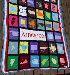 The United States of America crocheted afghan bottom part.