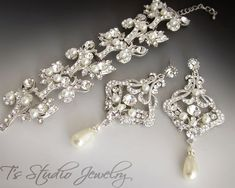 Rhinestone and Pearl Chandelier Earrings and Cuff Bracelet Bridal Jewelry Set - by T's Studio Jewelry