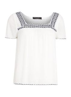 White Navy Embroidered Top Petite Outfits, New Outfits, Shirt Outfit, Fashion Online, Street Style, Navy, Coat, Mens Tops, How To Wear