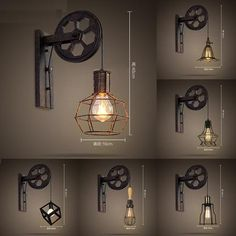 Loft Style Edison Wall Sconce Creative Lifting Pulley Vintage Wall Lamp For Home Antique Wall Lights Indoor Lighting Antique Wall Lights, Vintage Lamps, Vintage Industrial, Industrial Wall Lights, Rustic Lighting, Outdoor Wall Lighting, Led Wall Sconce, Wall Sconces, Wall Lamps