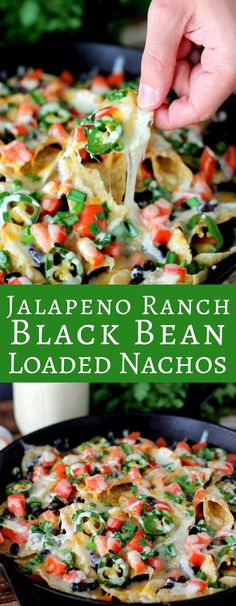 Jalapeno Ranch Black Bean Loaded Nachos ~ loaded with fresh ingredients and homemade spicy jalapeno ranch. In less than 20 minutes you have the perfect dish! Vegetarian Appetizers, Yummy Appetizers, Appetizer Recipes, Dinner Recipes, Vegetarian Food, Lunch Recipes, Beef Recipes, Cooking Recipes, Recipies