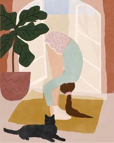 """Morning stretch"" yoga illustration, meditation illustration, girl illustrat… – From Parts Unknown Art Mural, Wall Art, Wall Decor, Yoga Kunst, Art And Illustration, Girl Illustrations, Yoga Studio Decor, Morning Stretches, Yoga Art"