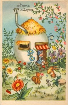 Buona Pasqua 1963 Vintage Cards, Vintage Postcards, Fete Pascal, Easter Illustration, Baby Clip Art, Easter Pictures, Easter Art, Vintage Easter, Mail Art