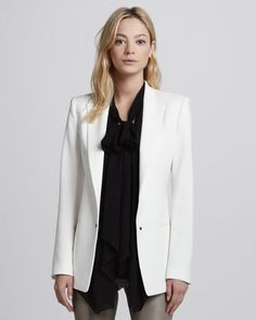 Tech-Fabric Long Tuxedo Jacket at CUSP.