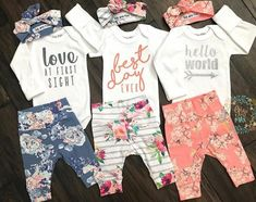 Watercolor Floral Hello World Newborn Outfit - Baby Sachen - Baby Kind, Baby Love, Baby Girl Fashion, Kids Fashion, Everything Baby, Cute Baby Clothes, Unique Baby Girl Clothes, First Baby, Future Baby