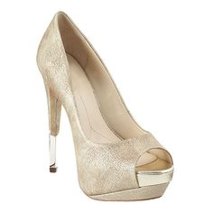 "Boutique 9 peep toe pump with all leather upper & foil accenting.  5 1/2"" heel.  2"" platform."