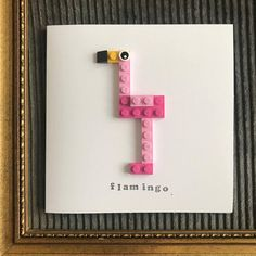 Flamingo card made from Lego. Everyone loves Flamingo's