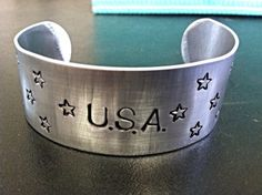 USA aluminum cuff by SpreadTheWord411 on Etsy,